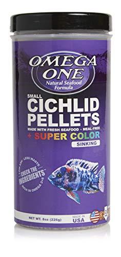 Omega One Super Color Sinking Cichlid Pellets, 2mm Small Pellets, 8 oz