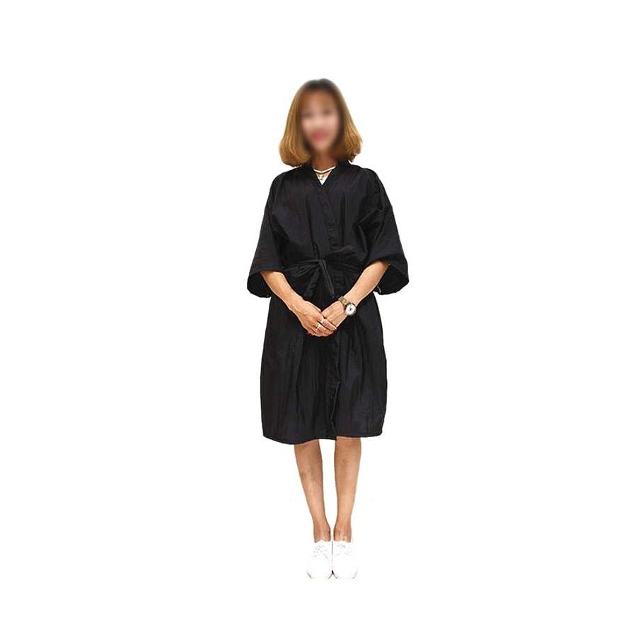 マトロン有効列挙するLucy Day サロンヘアカットガウンバーバーケープクロスビューティースパ衣類ヘアスタイリングケープナイロンヘアカット (色 : 黒)