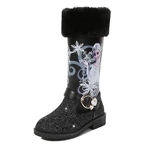 YOSICIL Botas de Princesa Elsa Botas de Nieve con Lentejuelas Botas de Invierno Felpa con Forro Cálido Boots Antideslizante Zapatos de Invierno con Cremallera Zapatos de Princesa Elsa