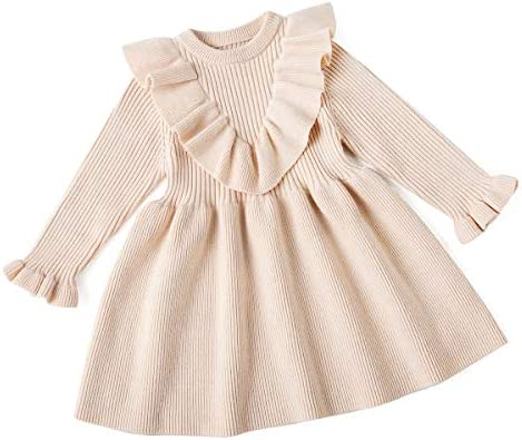 Curipeer Toddler Girl Ruffled Dresses Autumn Designer for Phtoshoot Knit Sweater Dress Beige product image
