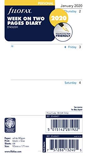 Kalendarium 20-68240 2 Seiten filofax Kalendereinlage 2020 POCKET  1 Woche