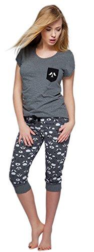 SENSIS edler Baumwoll-Pyjama Hausanzug aus wunderschönem Oberteil und toller Capri-Hose mit Bündchen, Made in EU (L (40), dunkelgrau mit Eiffelturm)