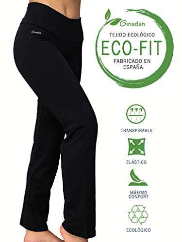 Ginadan Eco-Fit Confort, Legging Ecológico Pierna Recta, Mujer, Negro, M