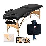 Massageliege Mobile Massagebank Massagetisch Klappbar Tragbar Massagebett Kosmetikbank Höhenverstellbaren 2 Zonen Holzfüßen mit einer Tragetasche (bis 230kg belastbar) - Schwarz