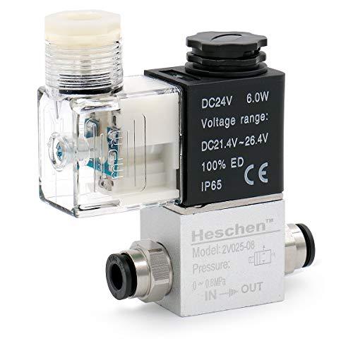 Heschen Electroválvula neumática eléctrica 2V025-08 24VDC PT1/4 2/2 vías normalmente cerrado CE IP65