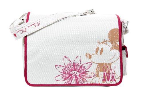 Osann Wickeltasche Pflegetasche Disney Minnie Flower weiss pink rosa, mit mobiler Wickelunterlage und Schnullertasche