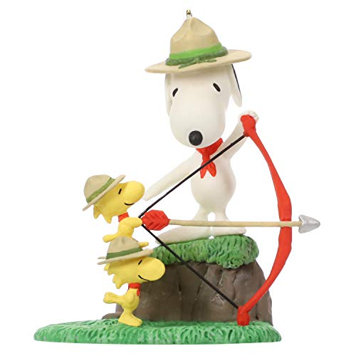 Hallmark Keepsake Christmas Ornament 2019 Year Dated Peanuts Beagle Scouts Practice, Snoopy Archery