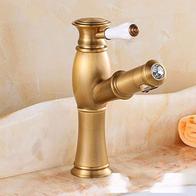 Ywqwdae Spülbecken Wasserhhne im europischen Retro-Stil Hei und kalt Waschen Sie Ihr Gesicht Ausziehen