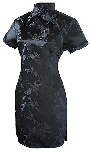 7Fairy Women's Sexy Black Floral Mini Chinese Evening Dress Cheongsam Size 4 US