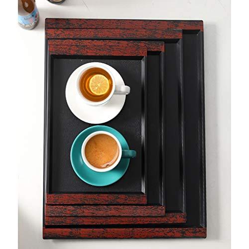 xuejuanshop Bandeja Bandeja Rectangular for el hogar Creativo plástico Antideslizante Bandeja del Restaurante Bandeja de la Taza de té de Agua Bandeja Antideslizante