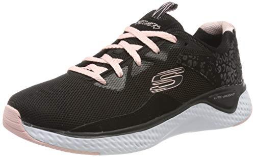 Skechers Women's SOLAR FUSE Trainers, Black (Black Leather/Mesh/Pink Trim Bkpk), 5 (38 EU)