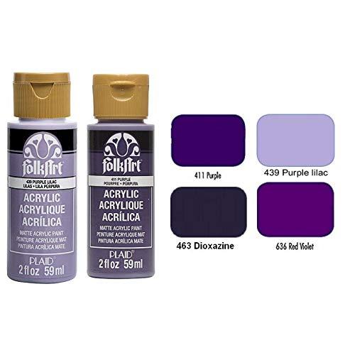 Peinture crémeuse Nuancier Violet Folkart Acrylique, Flacon de 59 ML au Choix, pour Bois, Carton, plâtre etc