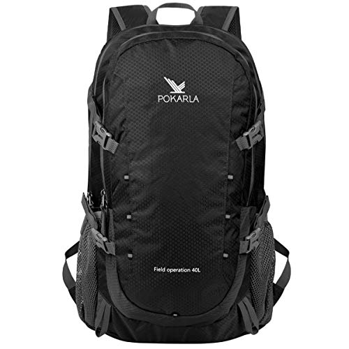 POKARLA 40L Foldable Rucksack Travel Hiking Daypack Durable...
