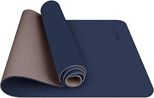 TOPLUS Esterilla Yoga Antideslizante Alfombrilla de Yoga Esterilla Pilates Esterilla Deporte- con Correa de Hombro 183cm x 61cm (Azul Oscuro+café)