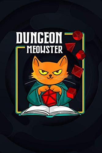 Dungeon Meowster RPG Tabletop Gaming DM Role Player Gift Notebook Journal 6x9 inch 114 Pages
