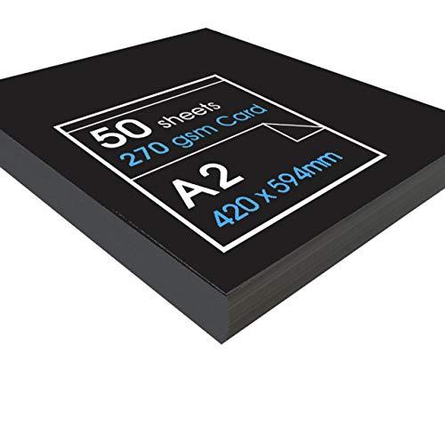 Artway - Cartulina reciclada (270 g/m², A1, A2 y A3), color negro, negro, A2-50 Sheets
