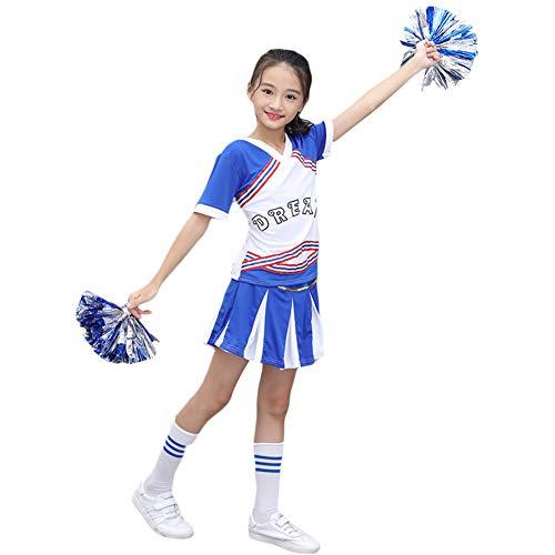 G-Kids Mädchen Jungen Cheerleader Kostüm Cheerleading Cheerleader Uniform Kinder Karneval Fasching Party Halloween Kostüm mit 2 Pompoms Socken (Mädchen 170)