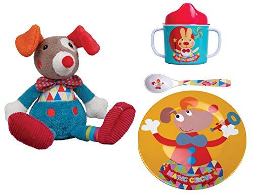 EBULOBO Set Kuscheltier Clown Plus Teller, Löffel, Tasse, Collection Magic Circus