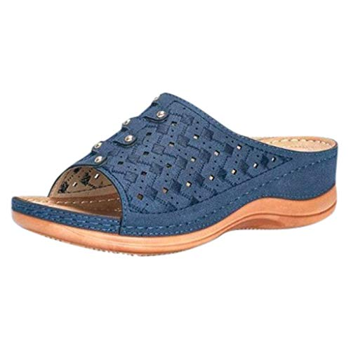 DAIFINEY Damen Sommer Streifen Hausschuhe Indoor-Haus Anti-Rutsch Dusche Badeschuhe Schlappen rutschfest Pantoffeln Gartenschuhe Home Slippers Damen Plastik Schuhe Sandaeln(Blau/Blue,40)