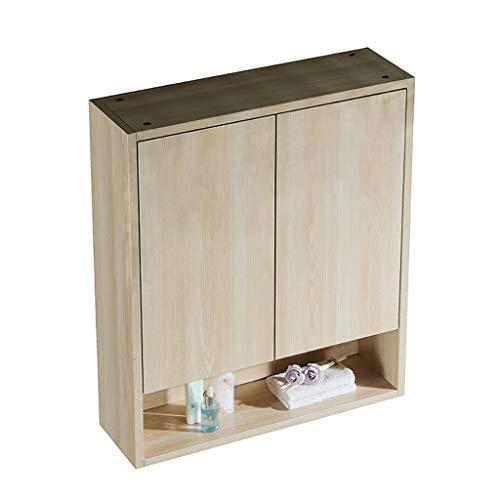 Houten Badkamer kabinet, Dubbele Deur met Opslag Plank Badkamer Huis Meubels Decoratieve Wandmontage Berging Plank