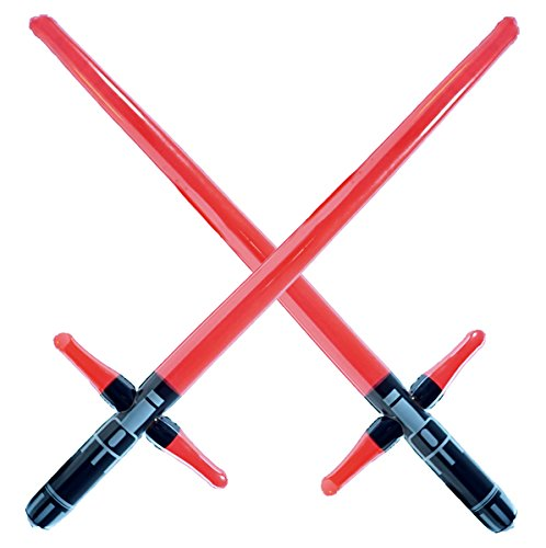 2 Premium - Three Blade Inflatable Light Saber Swords, Lightsaber, Party, Gift, Action Play, Blow Up Kylo Ren Lightsaber (Red 3-Blade)