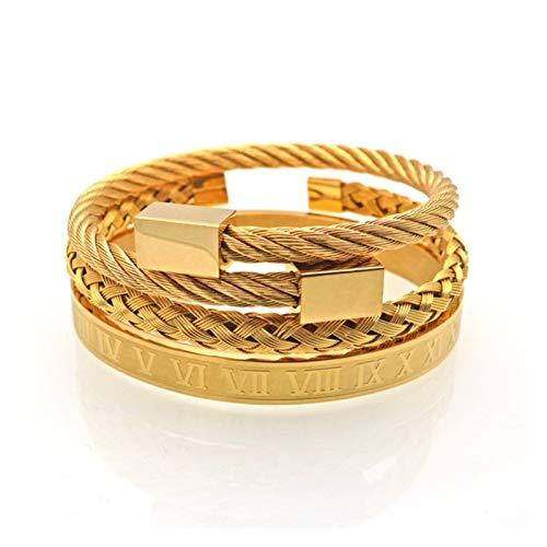 HKLD Pulsera 3pcs / Set de Acero Inoxidable Real Pulseras y brazaletes Romanos Amor Pulsera del Brazalete del rectángulo for los Hombres Pulsera de los Hombres de Pulseira (Color : A Sets of Gold)