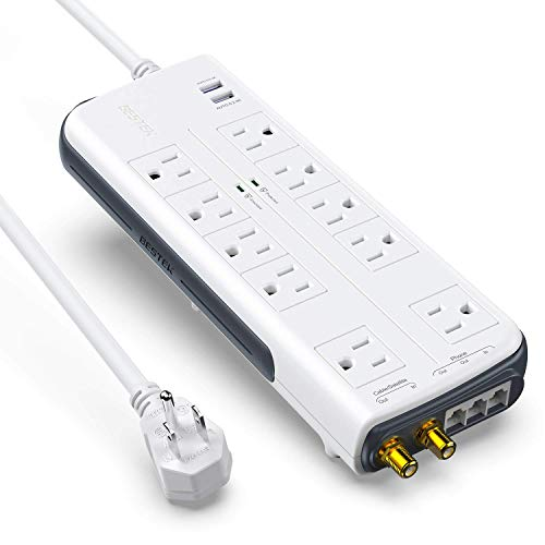 BESTEK 10-Outlet 6 Feet Extension Cord 4000 Joules Power Strip with USB 15A 1875W Surge Protector with Dual 2.4A USB Charging Port Desktop Charging Station, Wide Spaced Outlet for Large Plug