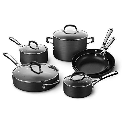 Calphalon Simply Pots and Pans Set 10 Piece Cookware Set Nonstick