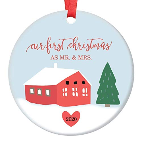 Our First Christmas As Mr & Mrs Ornament Charming 2020 Holiday Keepsake Bridal Shower Wedding Party Gifts Bride Groom Marriage Celebration Presents Snowy Country Decorations