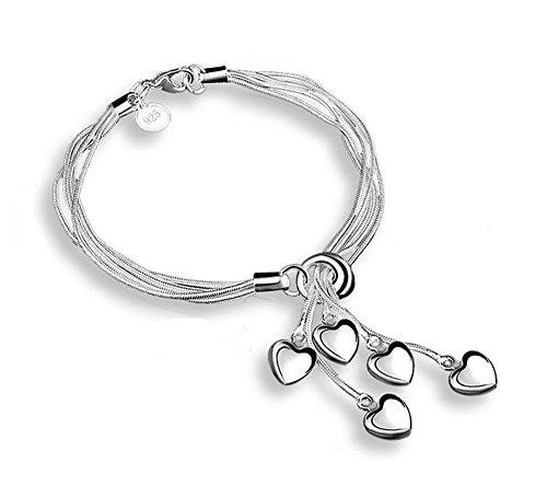 AIUIN - Pulsera para mujer de plata, estilo sencillo, con una bolsa para joyas (plata 4)