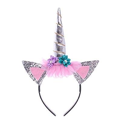 JMITHA Unicornio Cuerno Diadema con Flores Artificiales Accesorio de Pelo de Fiesta Diadema Unicornio para Niñas Aro del Pelo (Plata)