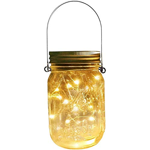 No-branded PDHCC Solar Mason Jar Lid Lights 20 Led String Fairy Star Firefly Jar Lids Lights for Mason Jar Decor Solar Laterns Light (Emitting Color : Light set, Wattage : White)