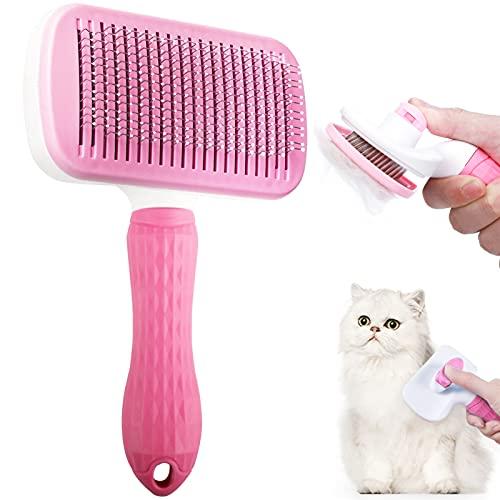 Cepillo Perros y Gatos Peine, Cepillo para mascotas Cepillo para Gatos Peine Autolimpiable Cepillo Perros Autolimpiante, para Desenredar y Peinar a Mascotas (rosa)