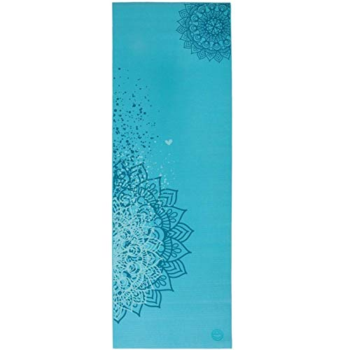 Tapete de yoga pvc ecológico estampa Mandala Design, indicado para iniciantes, yoga mat para pilates e ginástica 4.5mm 183cm x 60cm (Azul)