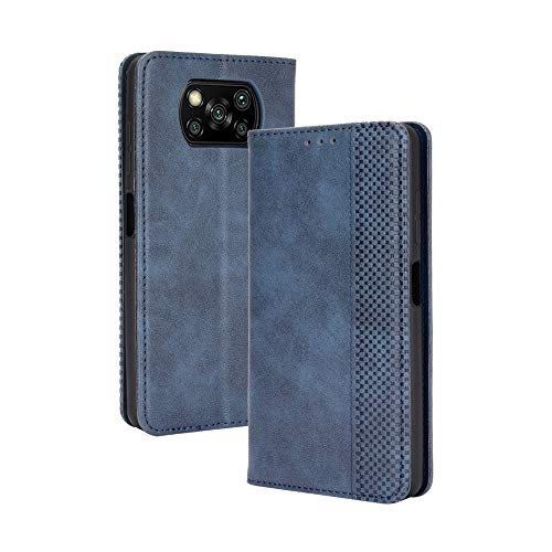 HAOTIAN Leder Hülle für Xiaomi Poco X3 NFC/Poco X3 Pro Hülle, Premium PU/TPU Leder Folio Hülle Schutzhülle Handyhülle, Flip Hülle Klapphülle Lederhülle mit Standfunktion und Kartensteckplätzen, Blau