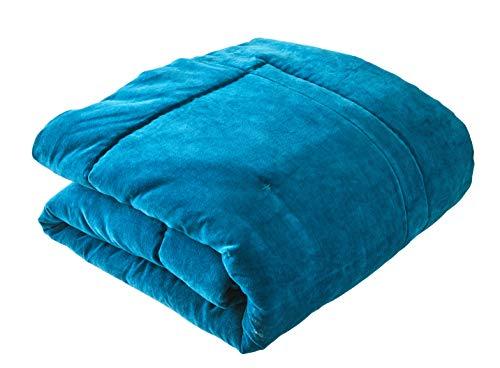 Blanc des Vosges Byzance Chemin de lit, 100% Coton, Bleu Paon, 90 x 240 cm