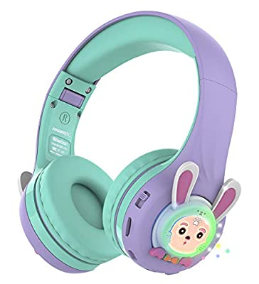 Riwbox RB-7S Kids Headphones Wireless, LED Light Up Wireless Foldable Headphones Over Ear Volume Limited Safe 75dB/85dB/95dB with Mic and TF-card, Children Headphones for Girls (Purple&Green) from Riwbox