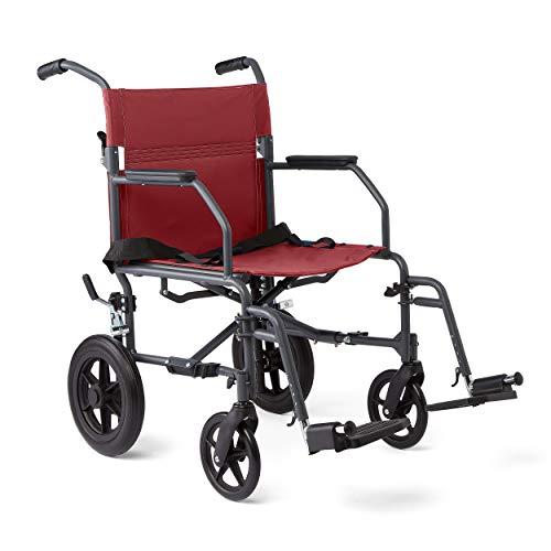Medline运输轮椅与轻质钢架,米巴抗菌保护,折叠椅是便携式,大12英寸背轮,19英寸宽座椅,红色