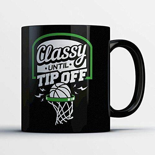 Taza de café de 325 ml, taza de té, taza de café de baloncesto – elegante hasta punta – Divertida taza de té de cerámica negra de 325 ml, taza de café para mujeres y hombres, taza de café de 325 ml