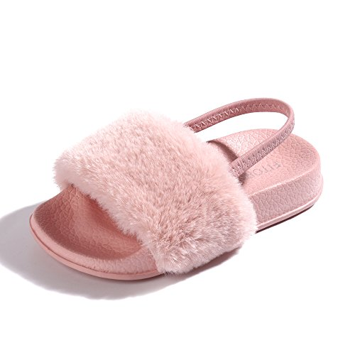 FITORY Girls Sandals Toddler, Faux Fur Slides with Elastic Back Strap Flats Shoes for Kids Pink Size 6