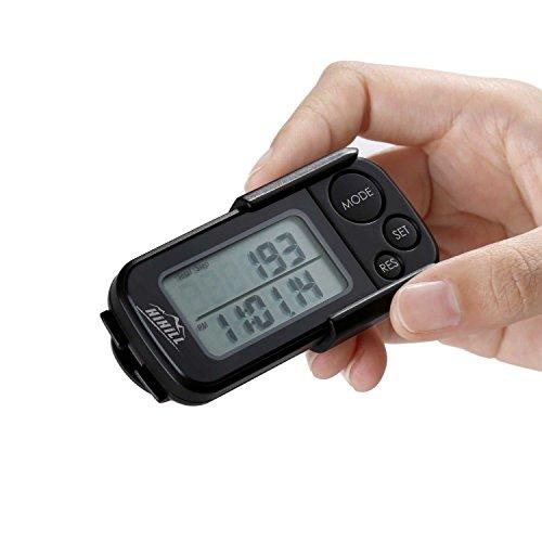 Hihill stappenteller, stappenteller 3D, calorieënteller, pedometer met trainingsmodus, stappenteller, clip, zwart