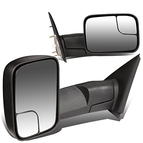 Replacement for Dodge RAM Pair of Black Textured Telescoping Manual Foldable Side View Towing Mirrors