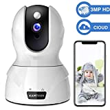 Security Camera 1536P Pet Camera - KAMTRON WiFi Wireless Home Camera Full HD 3MP IP Video Surveillance System with IR Night Vision, Motion Detection and Two-Way Audio - Cloud Storage, White