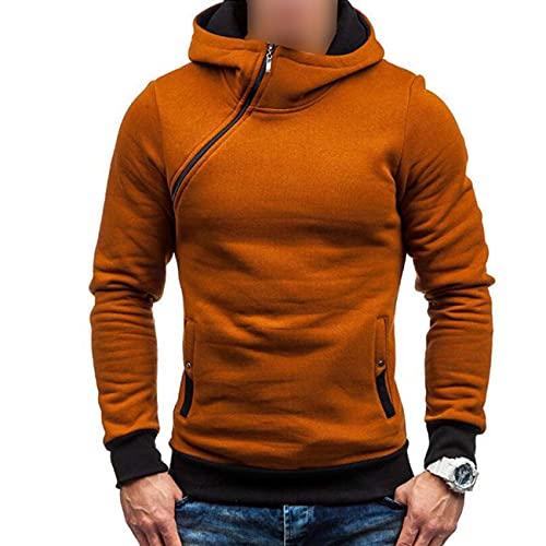Hombres Otoño/Invierno Con Capucha Suéter Manga Casual Diagonal Cremallera Plus Fleece Sudadera Con Capucha Multicolor, marrón claro, XXXL