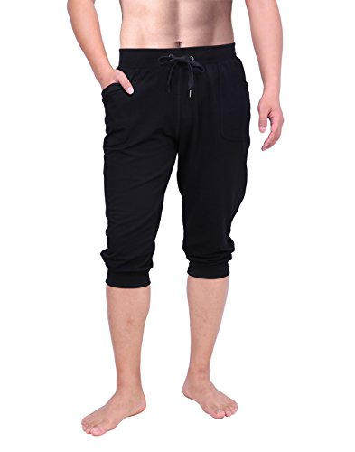 HDE Mens 3/4 Workout Joggers Yoga Capri Pants with Pockets for Running Training (Black, XX-Large)