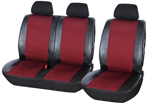 WOLTU AS7324 Cubiertas de Asiento de Coche universales para Transporter, 1 + 2 Fundas de Asiento Negro/Rojo Cuero de imitación