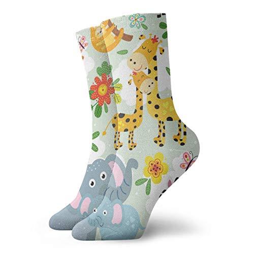 Calcetines, lindos animales para madre y bebé, calcetines atléticos, calcetines casuales calentadores de poliéster con tubo de tripulación de 11.8 pulgadas para hombre y mujer