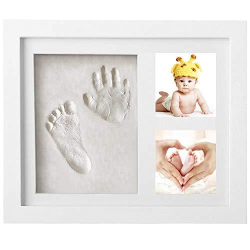 Impronta Bambino, Newlemo Cornice Impronte Neonato, Impronte Neonato Baby Art - Kit Impronte Neonato Una Battesimo Regalo Perfetto Bimbo (3 Fori, Bianco)