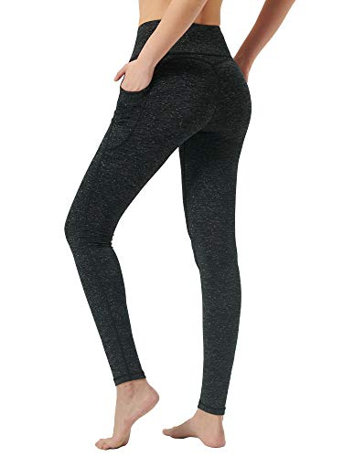 Zeronic High Waist Yoga Pants for Women with Pockets Tummy Control Workout Leggings for Women 4 Way Stretch Yoga Leggings(BlackGrey, Large)