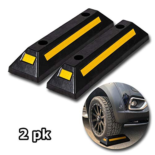 in budget affordable VaygWay Rubber Parking Curve Runner – High Performance Parking Block – 2 pcs. Black-yellow reflection …